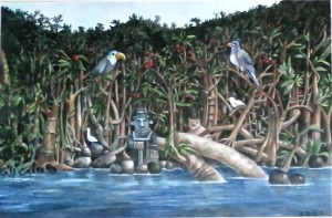 Painting of the Rio Dulce by Anita Bucherer Godeffroy