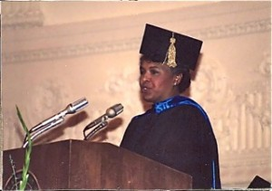 Professor Catana Tully addressing graduating class